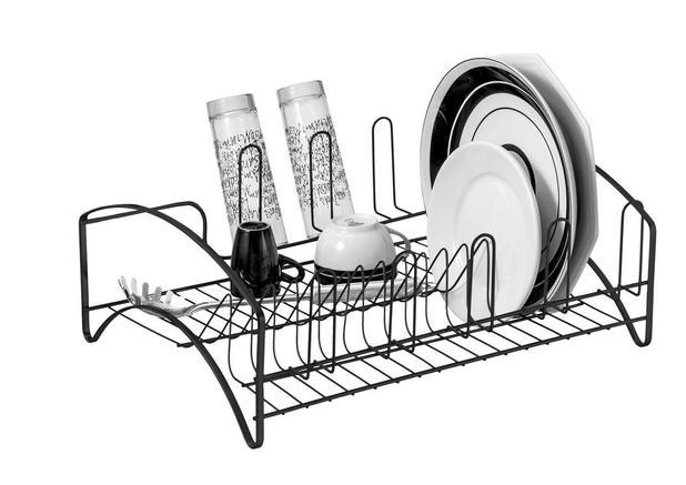 Imagem de Escorredor Louças Cozinha 16 Pratos Preto Suporte Para Copos