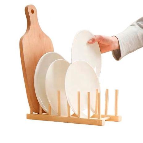Imagem de Escorredor Suporte Louças Bambu 6 Pratos ou 14 Copos