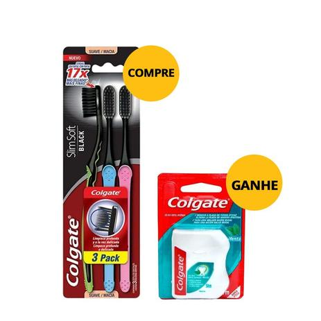 c53aeea1f Escova Dental Colgate Slim Soft Black Macia Com 3 Unidades Ganhe Fio Dental  Colgate Menta 50m