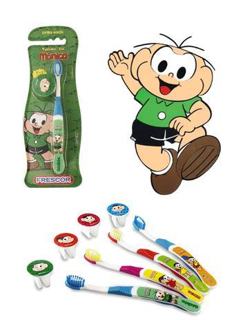 Imagem de Escova dental Infantil Cerdas Macias com Capa Protetora A Turma da Mônica - Cebolinha