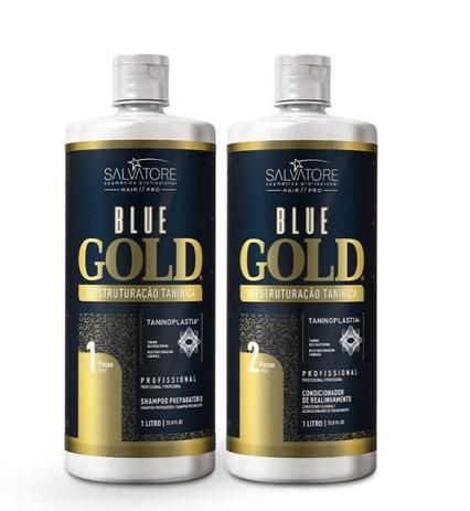 Imagem de Escova Progressiva Salvatore Blue Gold Sem Formol 2x1 Litro