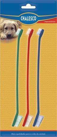 Imagem de Escovas de dente para cachorro e gato Chalesco 3 unidades Dupla cabo longo Colorida