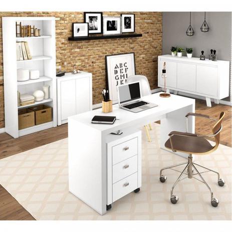Imagem de Escritório Completo 5 Peças Gaveteiro Mesa Balcões e Estante Tecno Mobili Branco