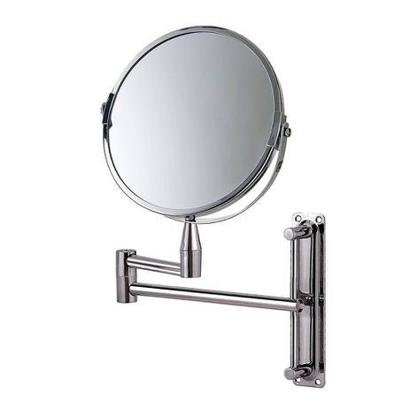 Imagem de Espelho Aumento Dupla Face Articulado Aço Inox Mor