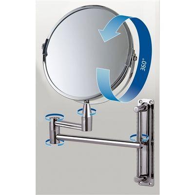 Imagem de Espelho aumento iluminado parede led articulado luz zoom 360 ajustavel redondo