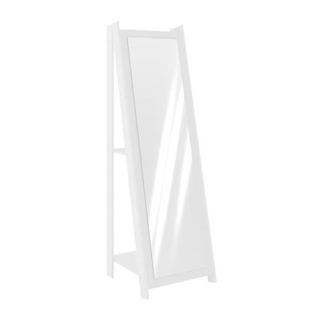 Imagem de Espelho De Chão Com 2 Prateleiras Retrô 161cmx50cm - Branco