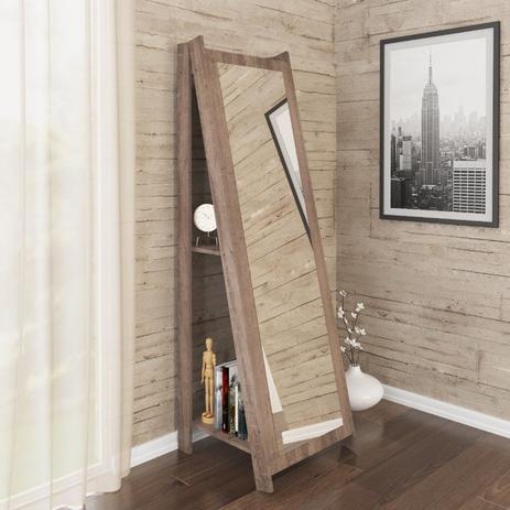 Imagem de Espelho De Chão Com 2 Prateleiras Retrô 161cmx50cm - Rústico