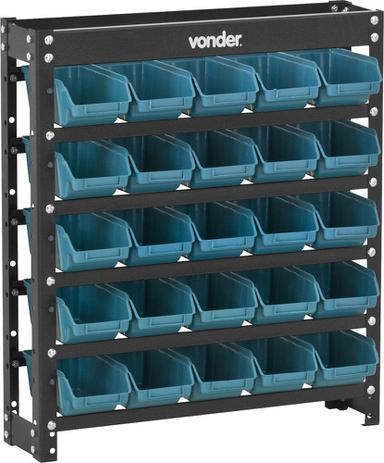 Imagem de Estante gaveteiro metálica 66x61x15,5cm com 25 peças gavetas n.3 azul 25/3 - Vonder