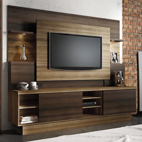 Imagem de Estante Home para TV até 55 Polegadas Aron Linea Brasil Capuccino Wood / Ébano