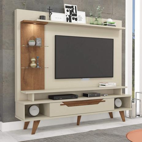 Imagem de Estante Home para TV até 55 Polegadas com LED 1 Gaveta Londres Retrô Permobili Off White/Savana