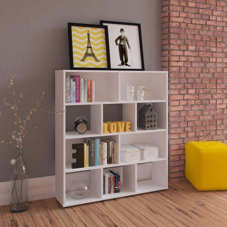Estante para livros com 10 nichos artely branco artely - Estantes para armarios empotrados ...