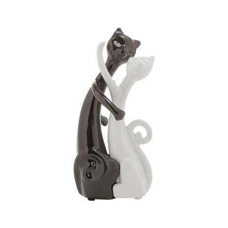 Imagem de Estatueta 19,5 cm de cerâmica branco e preto Casal Gatos Namorando Prestige - 2797
