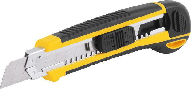 Imagem de Estilete largo 18mm corpo plástico com guia metálica botão trava com 6 lâminas es618 - Vonder