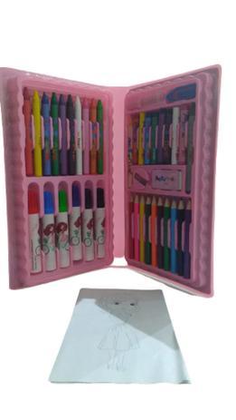 Imagem de Estojo Escolar Maleta Para Pintura Infantil Com 48 Peças Rosa - Regal
