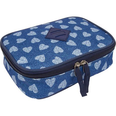 fac9f101736 Estojo Grande Especial Corações Jeans Azul Original Sestini - Estojo ...