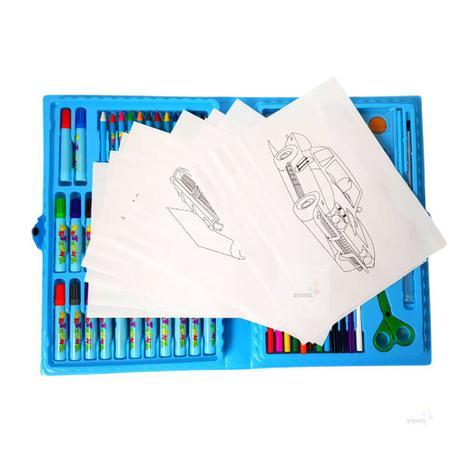Imagem de Estojo Maleta Escolar Desenho Pintura 98 Peças Canetinhas
