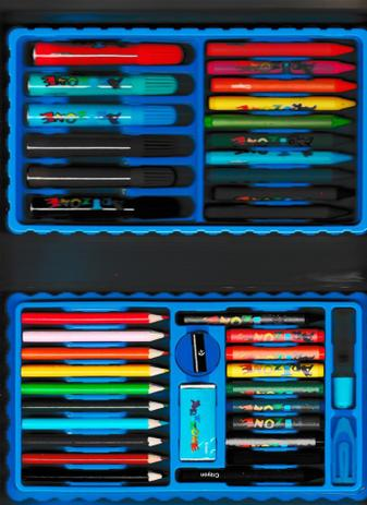 Imagem de Estojo Maleta Para Pintura Escolar Com 48 Peças Azul - Artzone