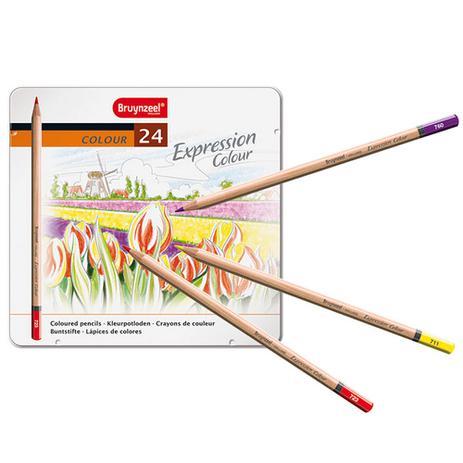 Imagem de Estojo Metálico de Lápis de Cor Expression Colour Bruynzeel 24 Cores - 7705M24