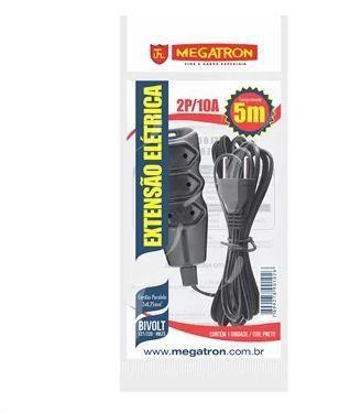 Imagem de Extensão Megatron Fio Paralelo 2 x 0,75mm 5m Preta 3 Tomadas