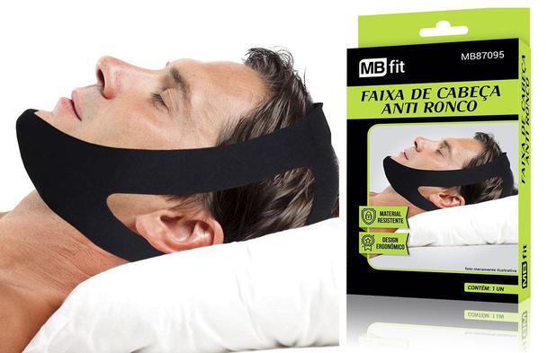 Imagem de Faixa de cabeça e queixo anti ronco durma muito melhor