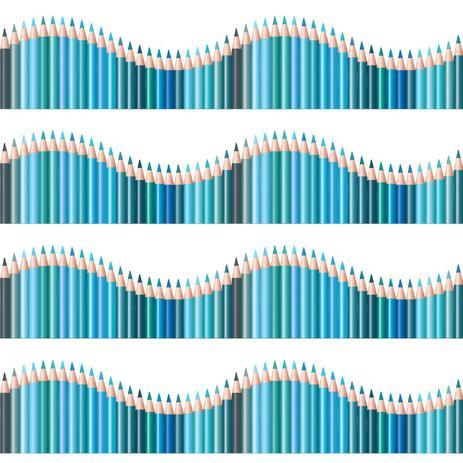 Imagem de Faixa de Parede Infantil Lapis de Cor Onda Azul 3mx15cm