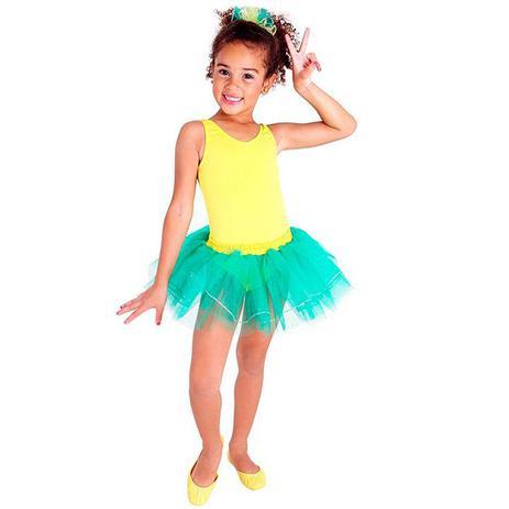 Fantasia Bailarina Infantil Brasileirinha Copa Do Mundo