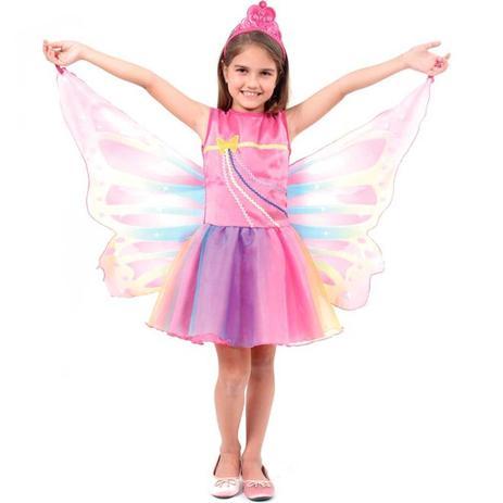 Imagem de Fantasia Barbie Dreamtopia Luxo Fada Arco Íris Luxo Com Asas e Tiara