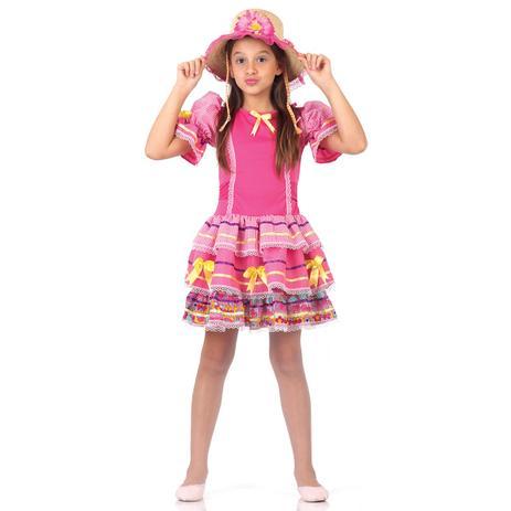 120b7eeef9 Fantasia Caipirinha Infantil Rosa Luxo - Festa junina - Fantasias ...