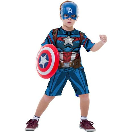 Imagem de Fantasia Capitão América Infantil Curta Os Vingadores Com Escudo