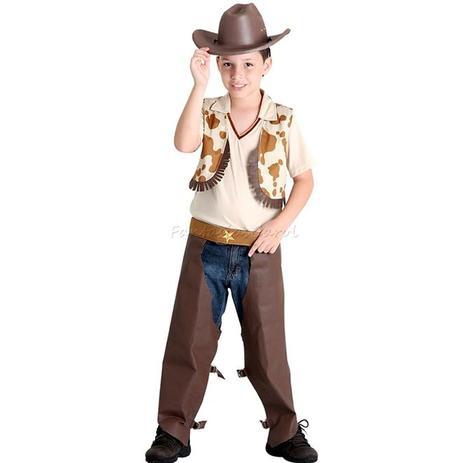 Fantasia Cowboy   Vaqueiro Infantil de Luxo Completa Com Chapéu -  Sulamericana 9e8d9b5debe