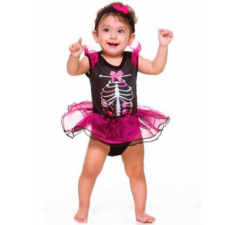ab5140279a46ac Fantasia de Caveira Mexicana Bebe Feminino de Halloween - Fantasias carol  fsp