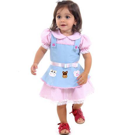 9e7a2662cebd2 Fantasia de Fazendeira Bebê Luxo Animais da Fazendinha - Sulamericana