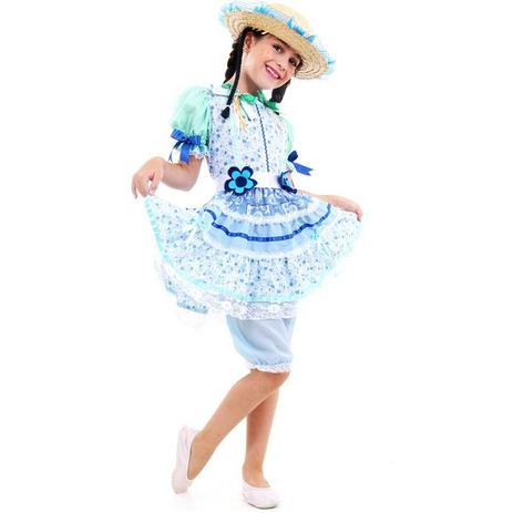 a52bde7c6 Fantasia De Festa Junina Caipira Infantil Vestido Flor Azul - Sulamericana