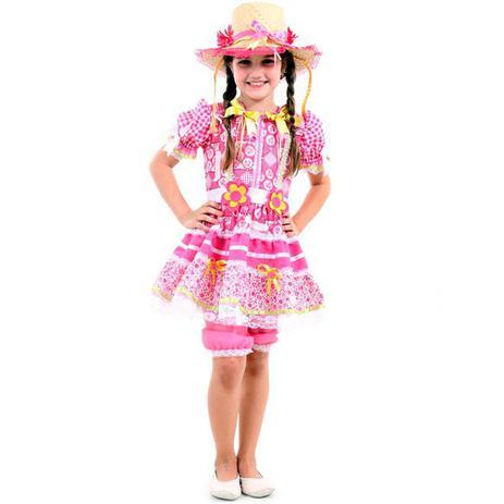 Fantasia De Festa Junina Caipira Infantil Vestido Flor Rosa - Sulamericana 578a02b6d2f