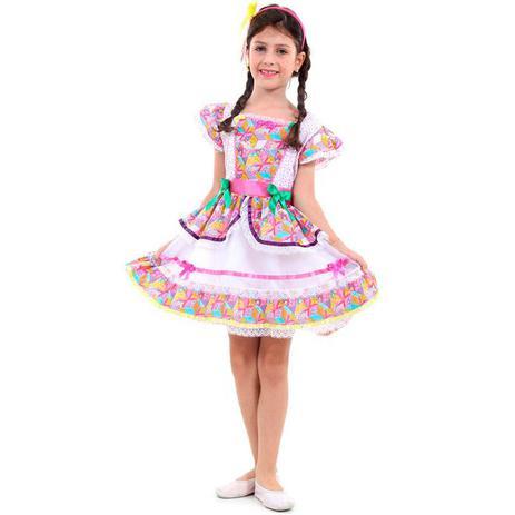 Fantasia De Festa Junina Infantil Vestido Caipira Borboletas Com Tiara -  Sulamericana 82fdcbdc3c1