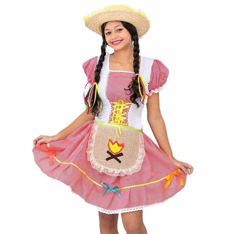 Fantasia De Festa Junina Infantil Vestido Caipira Com Avental Fantasias Carol He