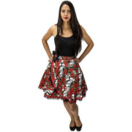Fantasia de Halloween Feminina Saia Caveira Mexicana com Rosas Vermelhas -  Fantasias carol kb 1ff09e607fa