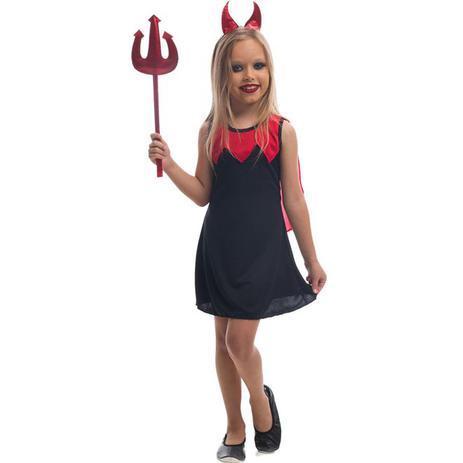 a315c027d217aa Fantasia de Halloween Infantil Diaba Menina Malvada Com Tiara e Tridente -  Fantasias carol fsp