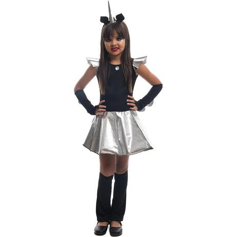 f7bc6039f244b8 Fantasia de Halloween Infantil Feminina Unicórnio Negro Com Chifre -  Fantasias carol fsp