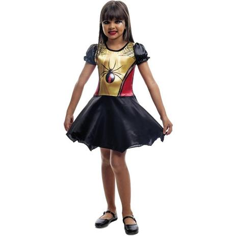 527a4638a5 Fantasia de Halloween Infantil Feminina Vestido Viúva Negra - Fantasias  carol fsp