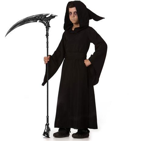 Imagem de Fantasia de Halloween Infantil Morte Mago das Trevas Com Faixa e Capuz