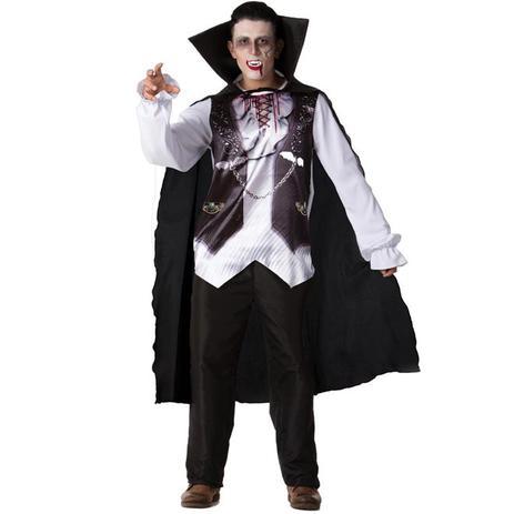 56f4339bf Fantasia de Halloween Masculina Adulto Vampiro de Luxo Com Capa e Dentadura  - Fantasias carol fsp