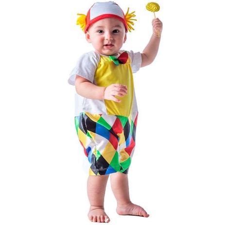 e66a1e124396a3 Fantasia de Palhaço Bebê Macacão Curto Com Chapéu - Fantasias carol fsp