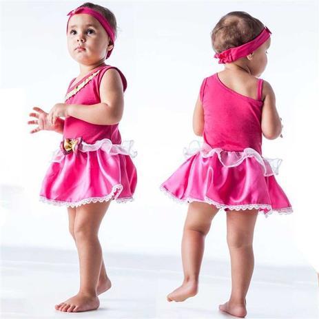 436c1fb2e0afc3 Fantasia de Princesa Bebê Rosa Encantada Com Faixa 3 a 18 meses - Fantasias  carol fsp