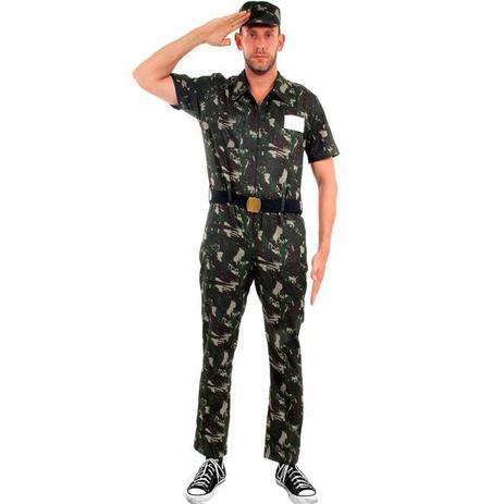 Fantasia de Soldado Militar Exército de Luxo Com Quepe Adulto Masculino -  Sulamericana 248b497705d