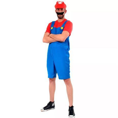 Fantasia do Super Mario Adulto Verão Com Boina e Bigode - Sulamericana 0d9540f2c85