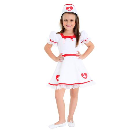 fce9a21d809 Fantasia Enfermeira Infantil Luxo - Médico e cia - Fantasia Infantil ...