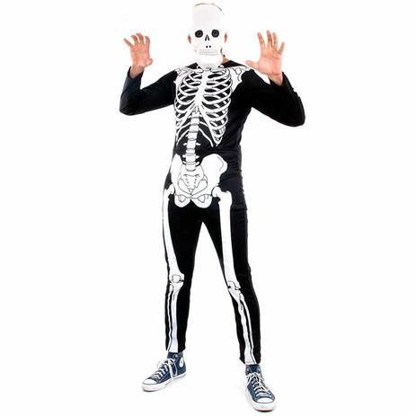 d0c7348e11ac4a Menor preço em Fantasia Esqueleto Glow Adulto Halloween Com Máscara -  Sulamericana
