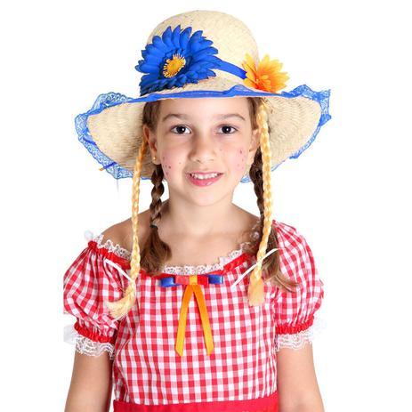 e1661020e8 Fantasia - Festa Junina - Chapéu Caipira Luxo - Flores - Com Trança - Azul  - Sulamericana