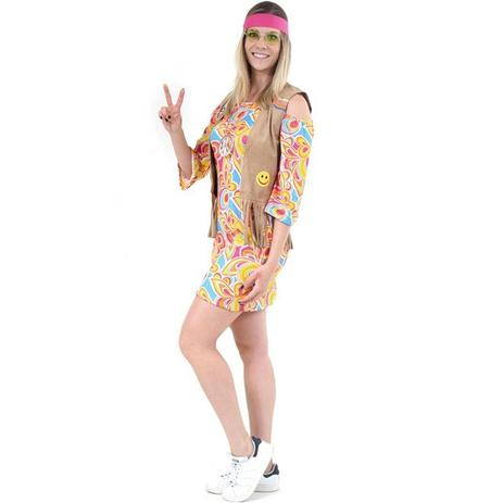 27f2ea426e5a1d Fantasia Hippie Adulto Feminina Anos 70 Luxo Com Colete - Sulamericana